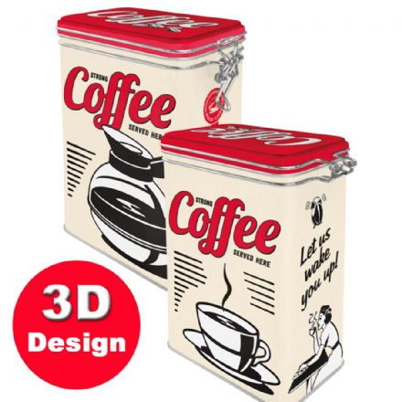 Strong Coffee -  Hinged Embossed Storage Tin